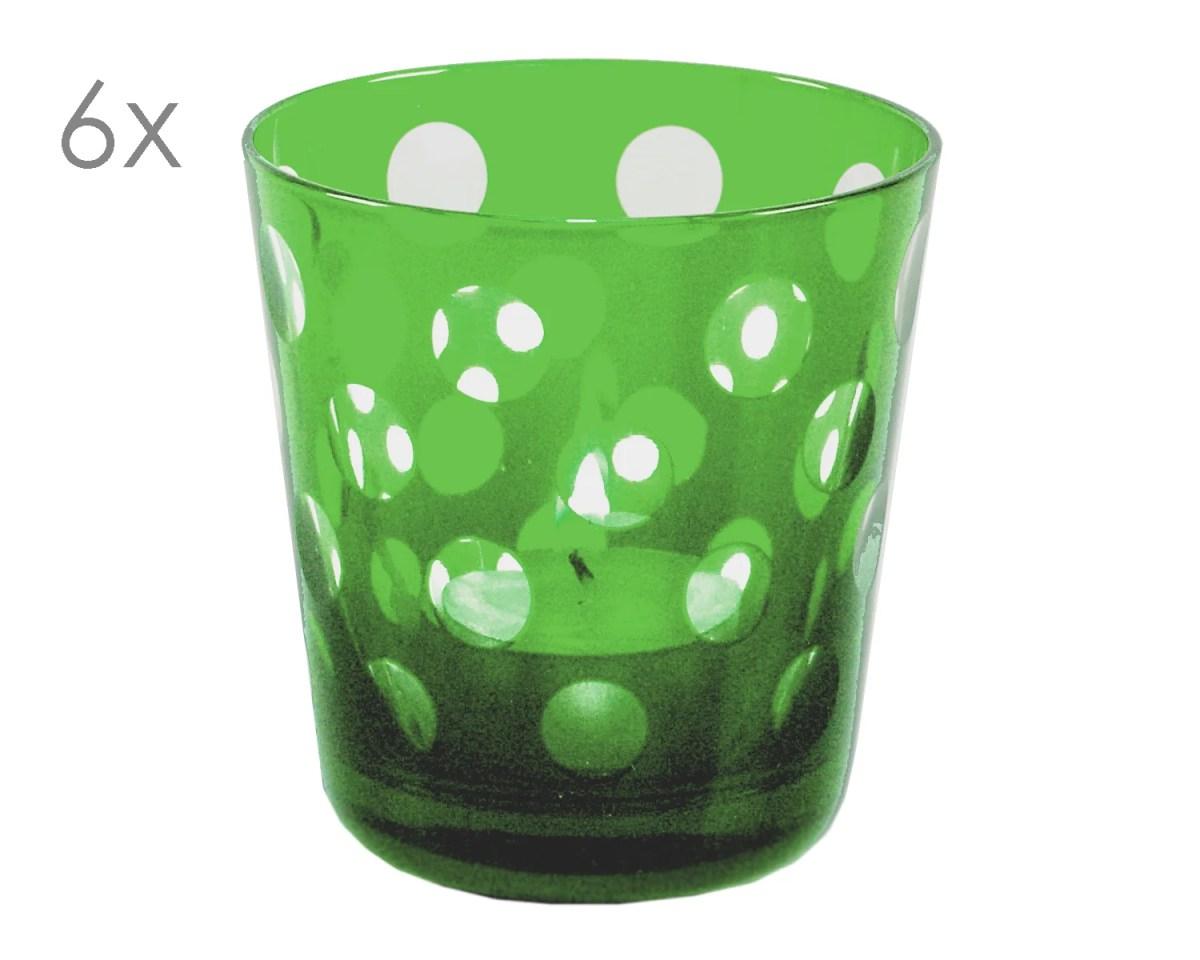 8041 6er Set Kristallgläser Bob, grün, handgeschliffenes Glas , Höhe 8 cm, Füllmenge 0,14 Liter