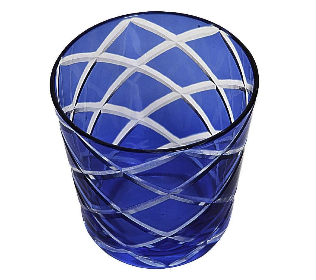 8045 6er Set Kristallgläser Dio, blau, handgeschliffenes Glas