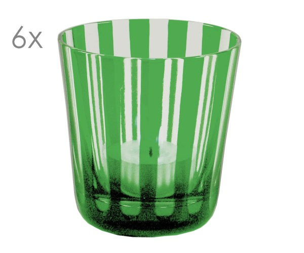 8051 6er Set Kristallgläser Ela, grün, handgeschliffenes Glas , Höhe 8 cm, Füllmenge 0,14 Liter