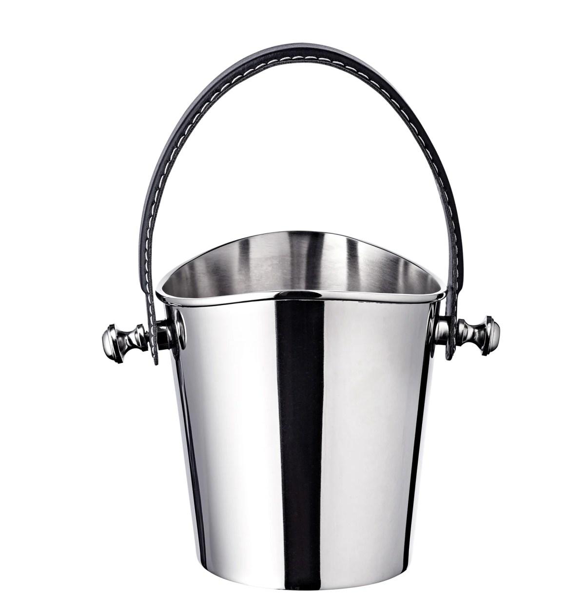 8461 Eiseimer Gilbert Weinkühler mit schwarzem Ledergriff, Edelstahl glänzend vernickelt, Höhe 23 cm
