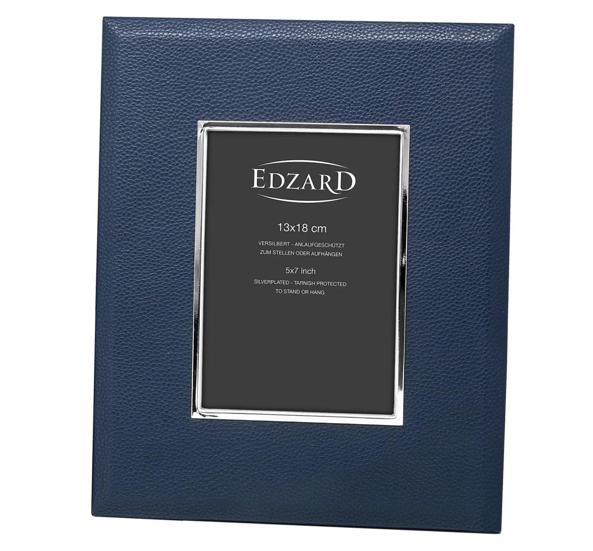 2906 Edzard Fotorahmen Bilderrahmen Bert 13 x 18 cm Lederoptik dunkelblau Versilbert