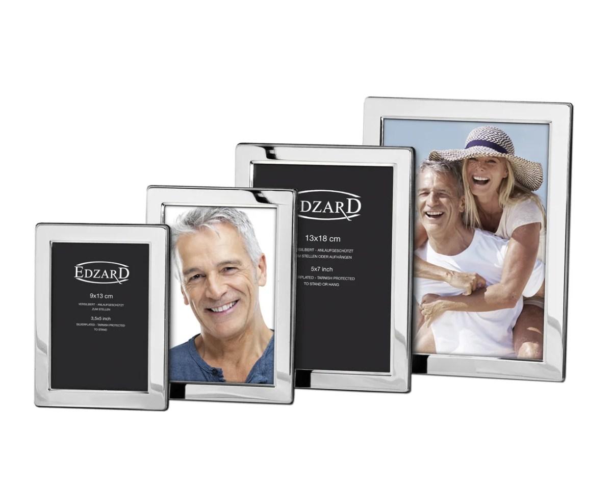 4740 Fotorahmen Salerno für Foto 10 x 15 cm, edel versilbert, anlaufgeschützt, grauer Samtrücken
