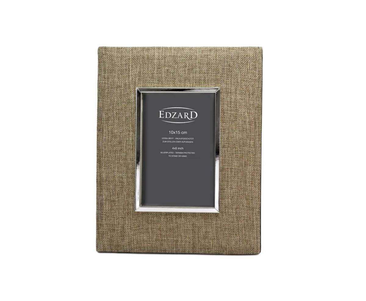 4867 Edzard Bilderrahmen Fotorahmen Teramo 10 x 15 cm, Textil beige, edel versilbert