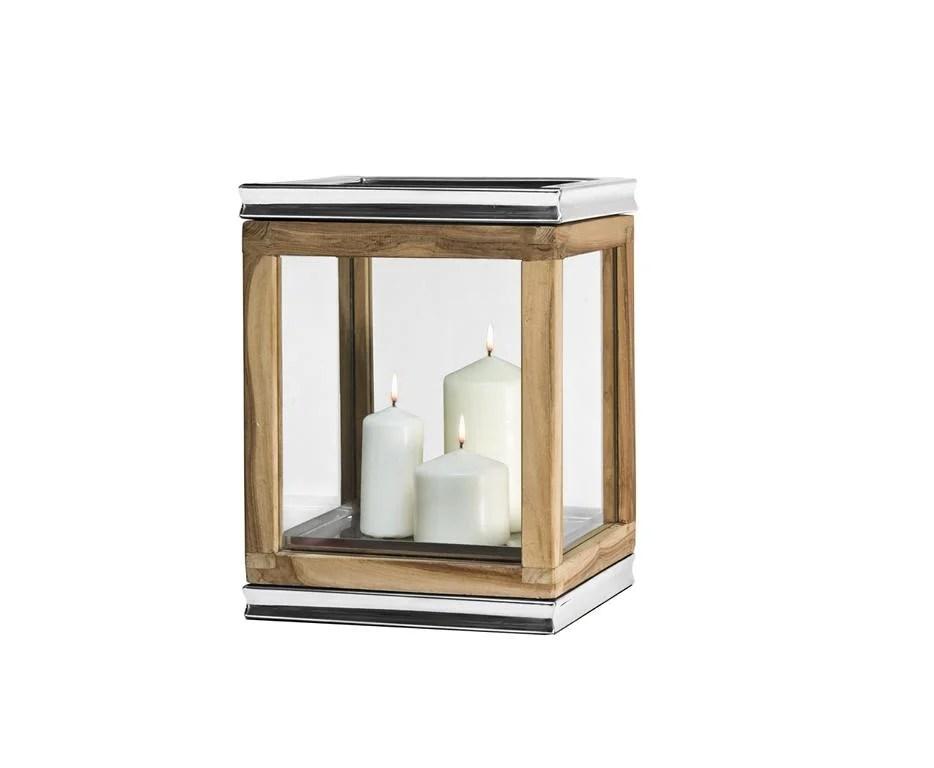 7454 Edzard Laterne Windlicht Dubai Holz Teakholz Edelstahl glänzend Höhe 34 cm
