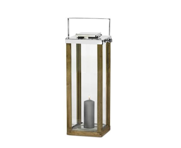 7445 Edzard Laterne Windlicht Miami klappbarer Griff Holz Edelstahl glänzend 60 cm
