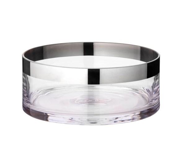 2591 Schale Dekoschale Grit, mundgeblasenes Kristallglas mit Platinrand, Durchmesser 20 cm