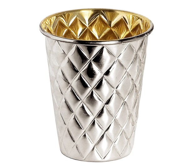3091 Silberbecher Pilar mit Rautenmuster, schwerversilbert, innen Goldoptik (Messing poliert)