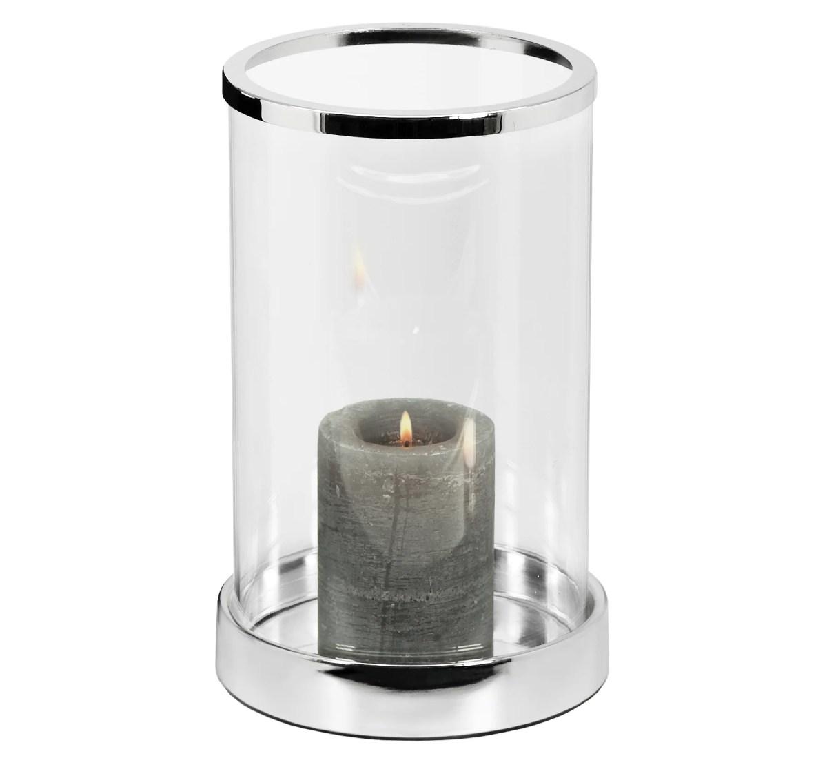 2841 Windlicht Sanremo, edel versilbert, anlaufgeschützt, Höhe 26 cm, Durchmesser 16,5 cm