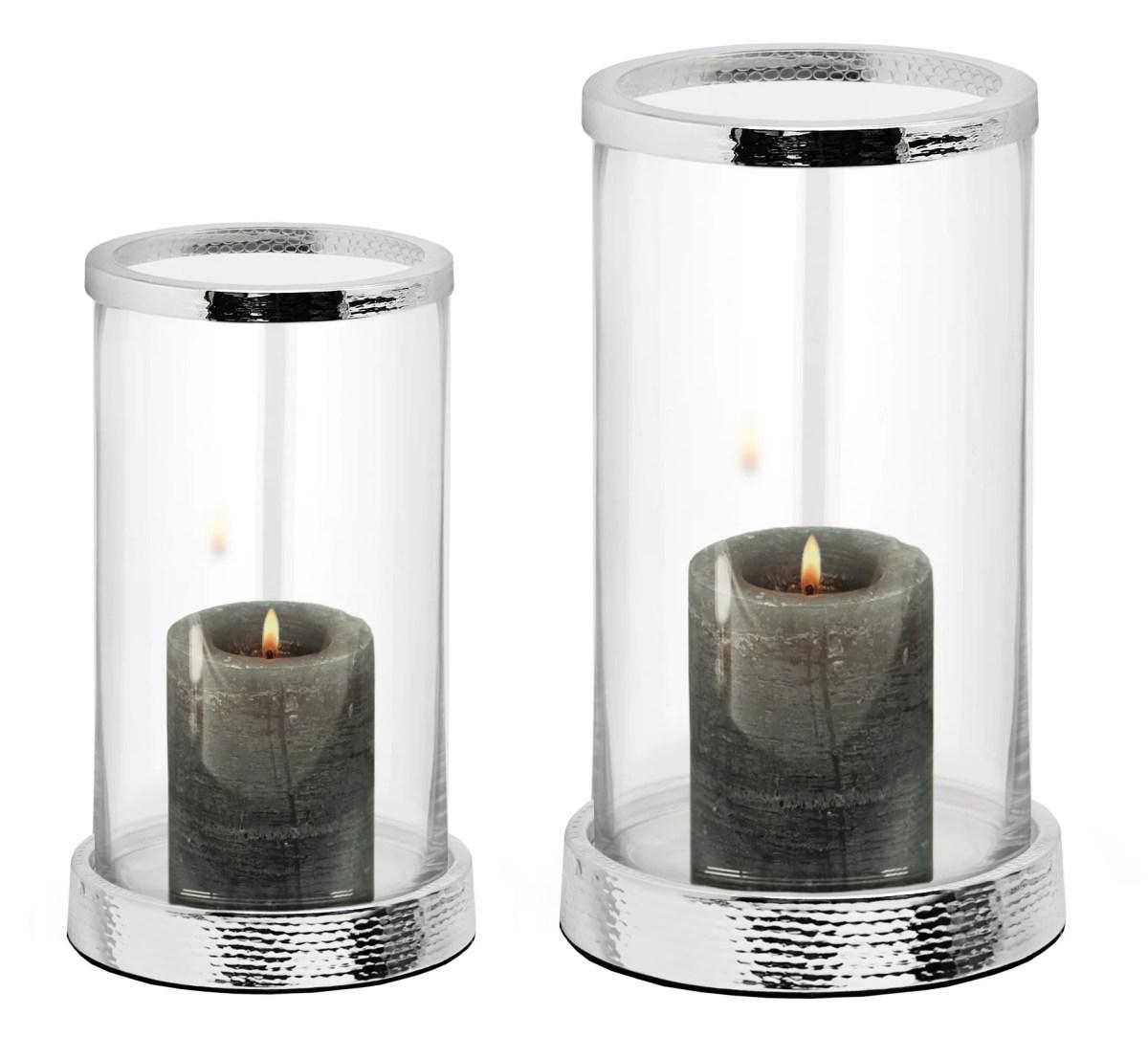2844 Edzard Windlicht Kerzenhalter Glas Edel Versilbert f. Stumpenkerze Kerze silber