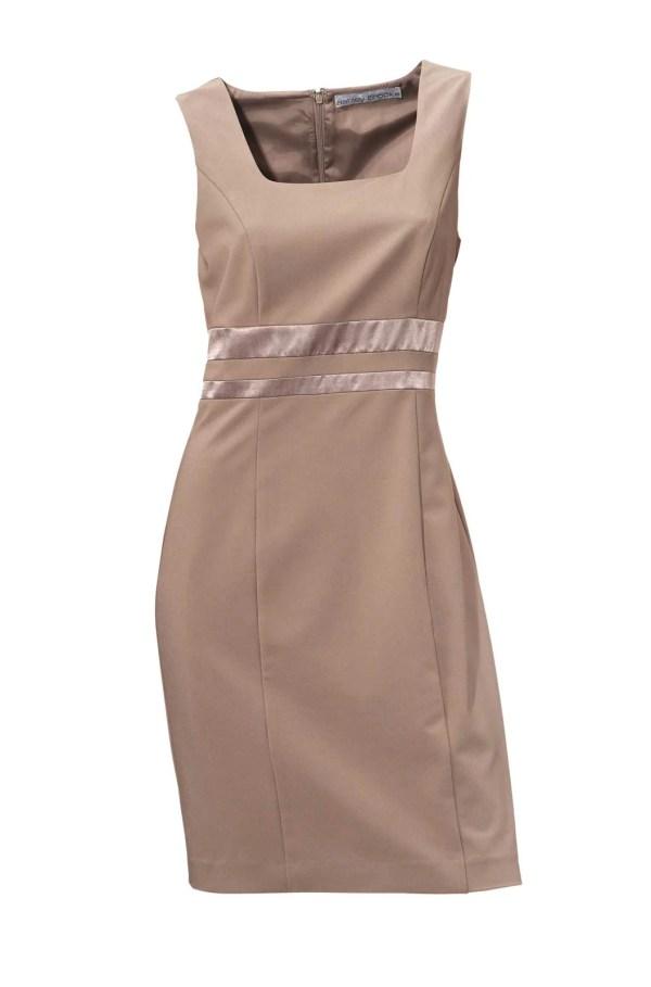003.148 ASHLEY BROOKE Damen Designer-Etuikleid Taupe Stretch Ohne Ärmel Bürokleid Top
