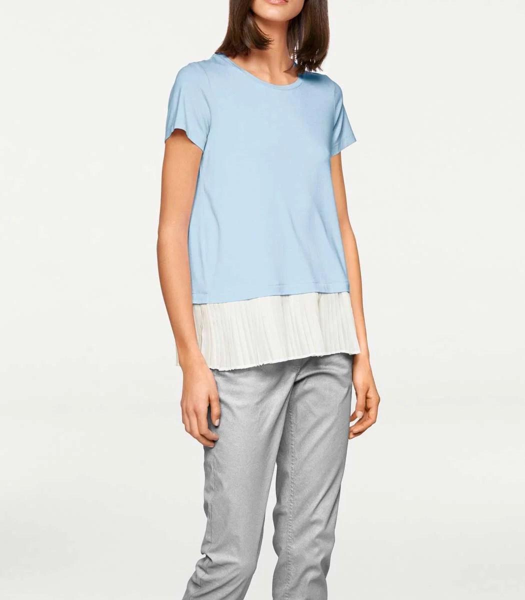 006.790 RICK CARDONA Damen Designer-2-in-1-Shirt Hellblau-Weiß