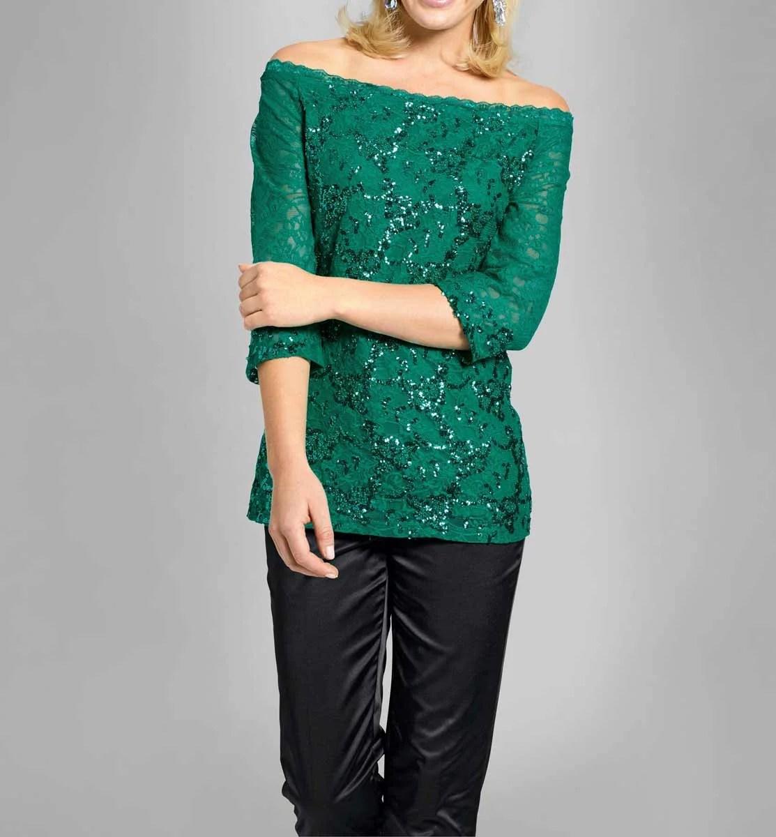 008.559 ASHLEY BROOKE Damen Designer-Spitzenshirt m. Pailletten Grün