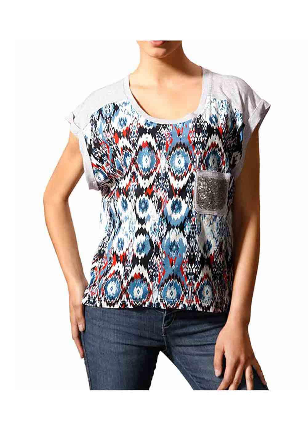 016.508 MANDARIN Damen-Shirt m. Pailletten Hellgrau-Bunt