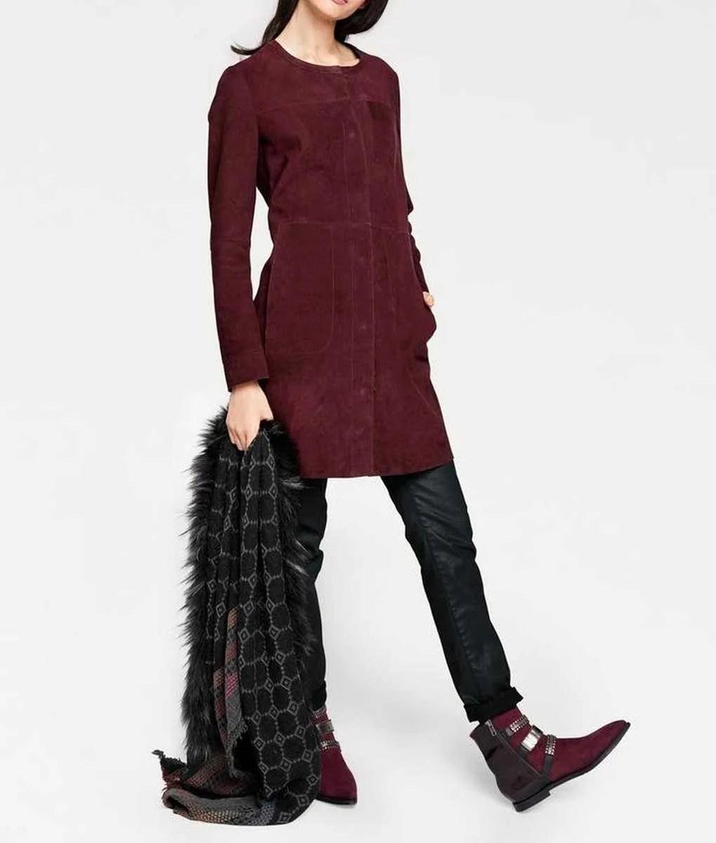 038.114 Rick Cardona Damen Designer-Ledermantel Ziegenvelours Dunkelrot Bordeaux