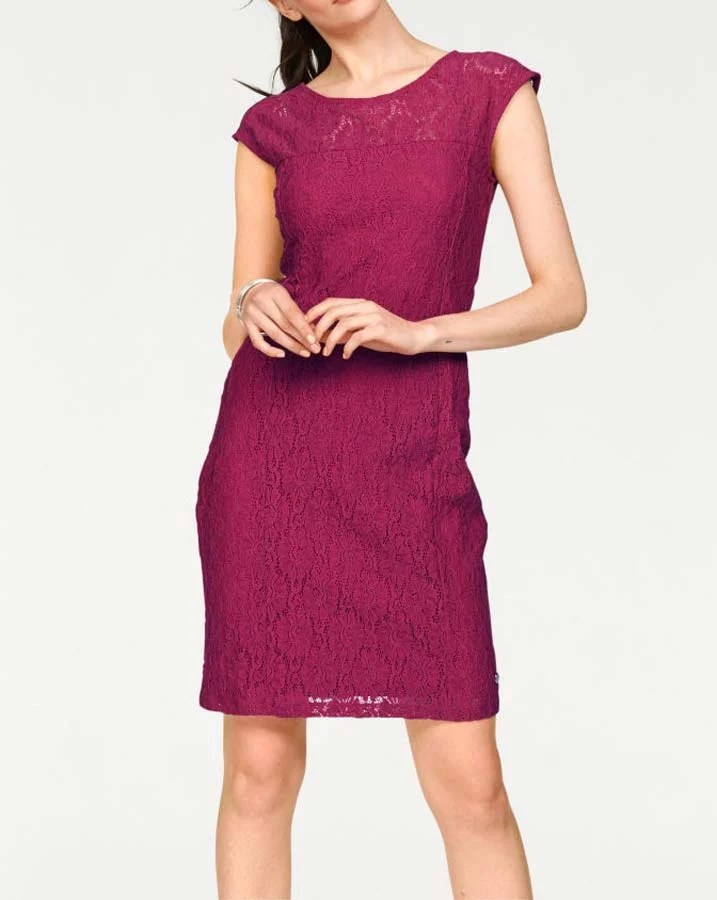 103.594 BRUNO BANANI Damen Marken-Spitzenkleid Transparent Etuikleid Elegant Fuchsia