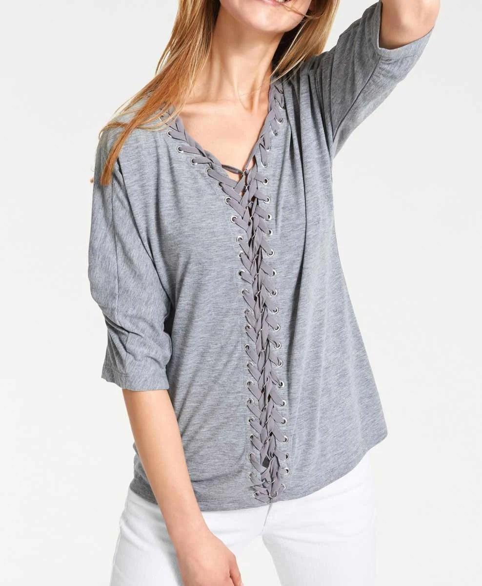 106.990 HEINE Damen Designer-Shirt m. Schnürungen Grau-Melange