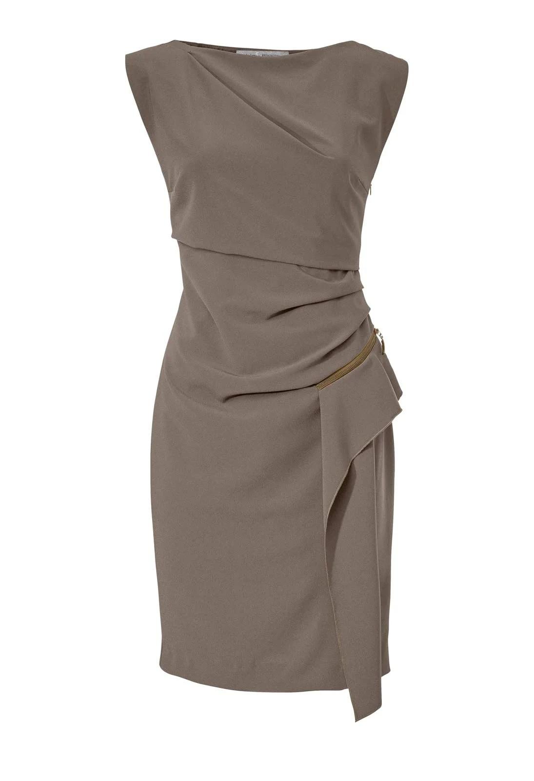 134.853 ASHLEY BROOKE Damen Designer-Etuikleid Taupe