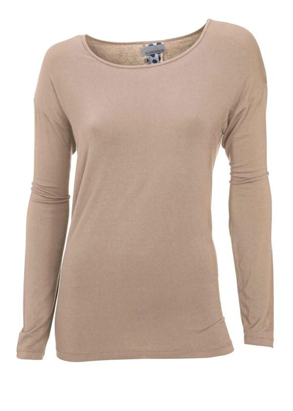 191.727 MANDARIN Damen-Shirt m. Einsatz Taupe