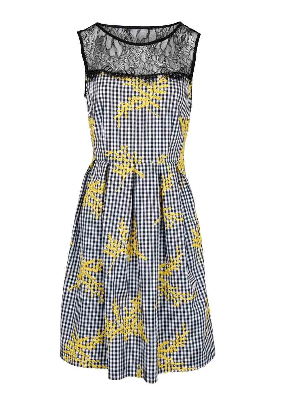 303.683 RICK CARDONA Damen Designer-Kleid m. Spitze Schwarz-Gelb