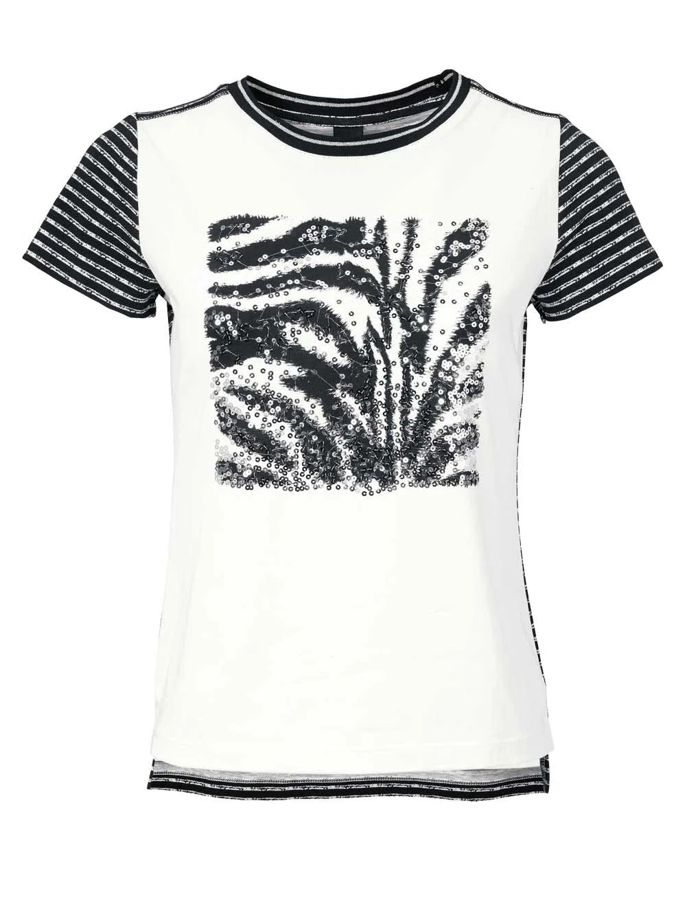 319.351 HEINE Damen Designer-Shirt Schwarz-Weiß