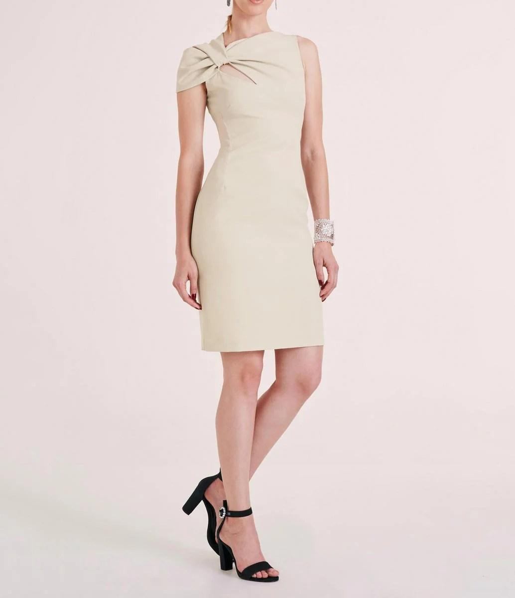 343.531 HEINE Damen Designer-Drapé-Etuikleid Creme