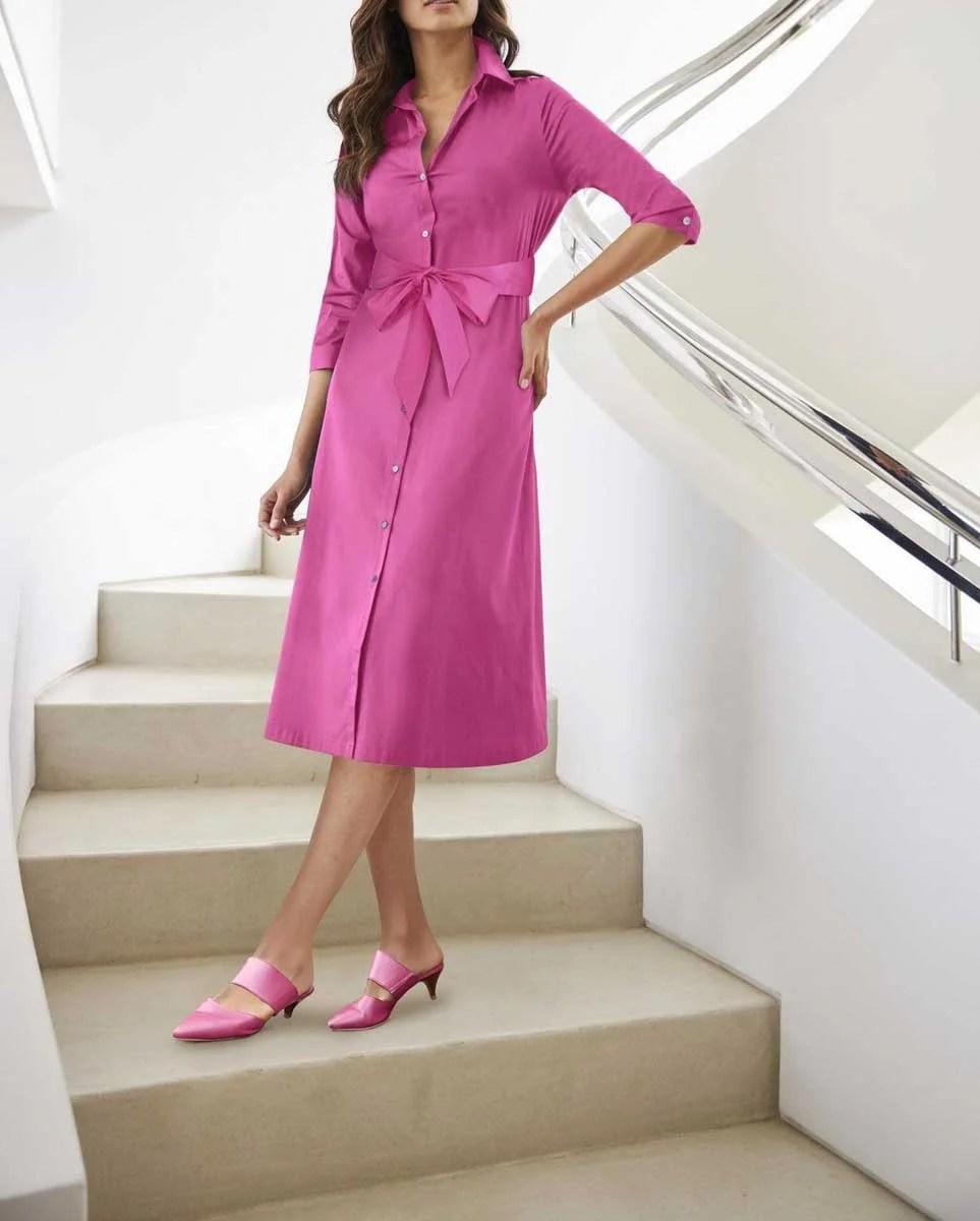 603.235 HEINE Damen Designer-Hemdblusenkleid m. Bindegürtel Pink