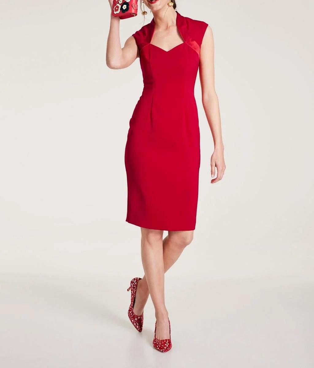 672.506 HEINE Damen Designer-Etuikleid Rot