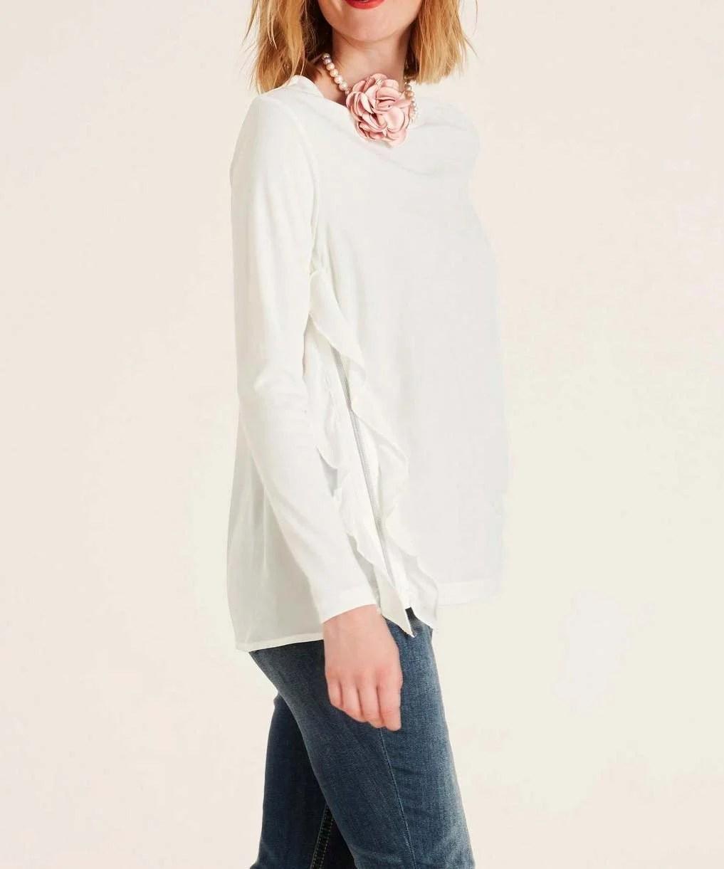 879.349 HEINE Damen Designer-Rüschen-Shirt m. Reißverschluss Weiß