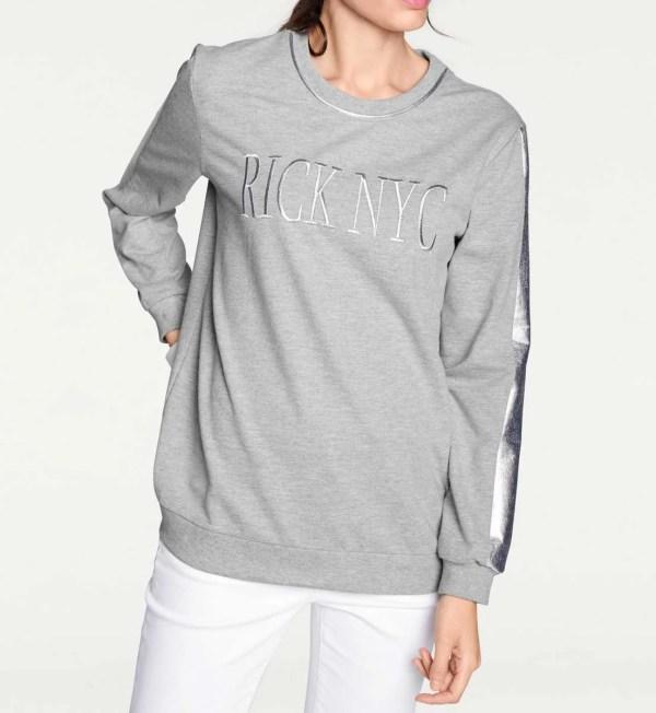 010.252 Sweatshirt, grau-melange von Rick Cardona Grösse 38