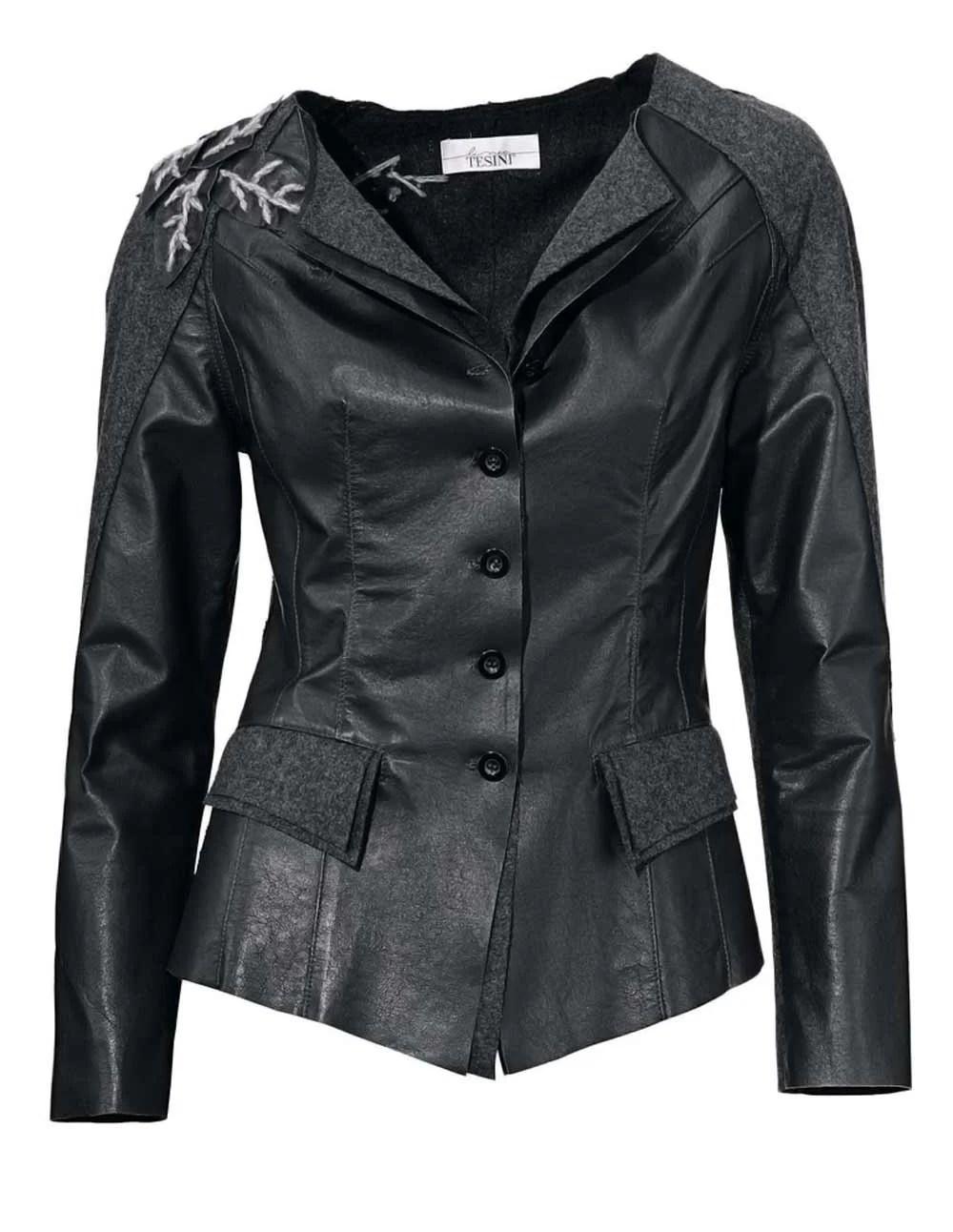 025.840 Lina Tesini Patchjacke Lederblazer schwarz-grau