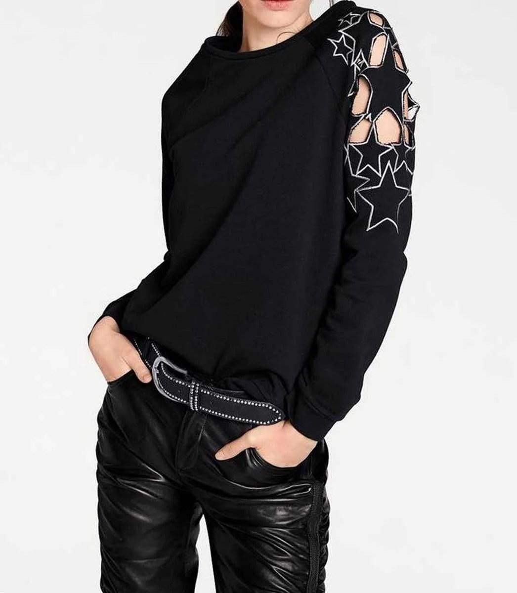 073.399 HEINE Damen Designer-Sweatshirt m. Stickerei Schwarz