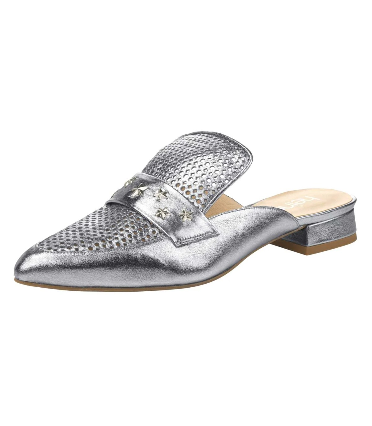 166.029 HEINE Damen Designer-Leder-Pantolette Silberfarben