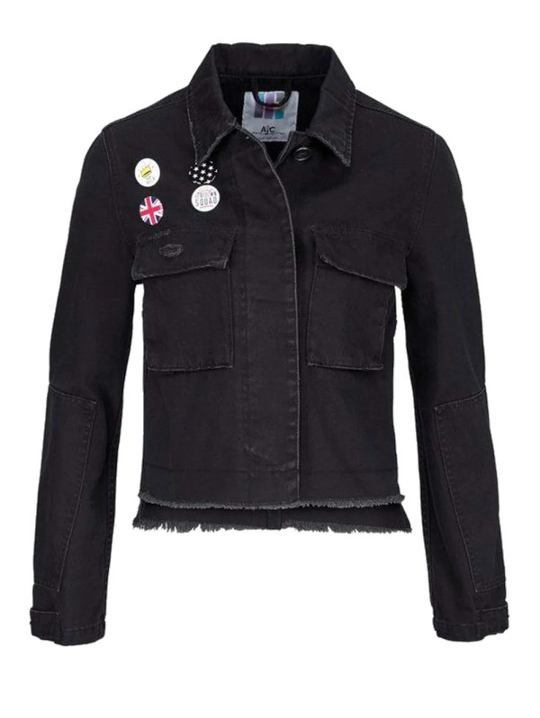 208.196 AJC Damen-Jeansjacke Buttons Denim Schwarz Think Outside the Box
