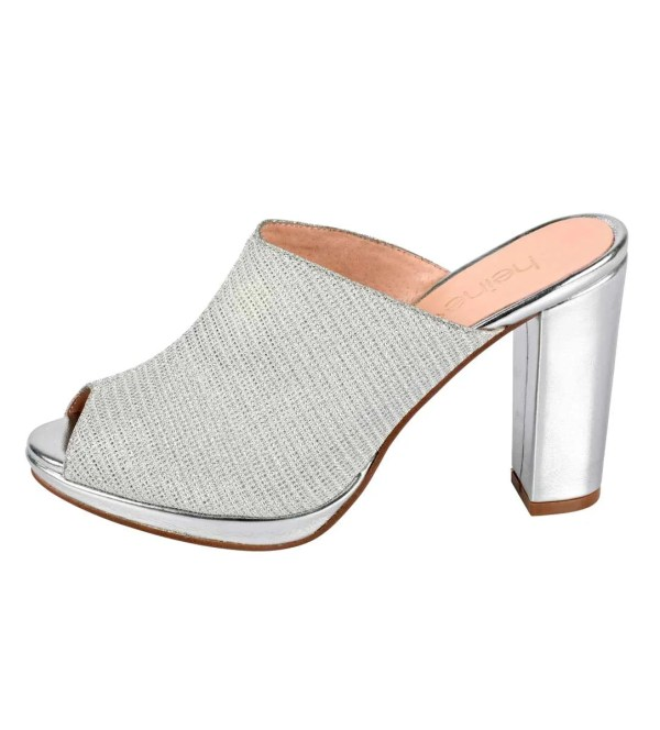 294.275 HEINE Damen Designer-Pantolette Silberfarben