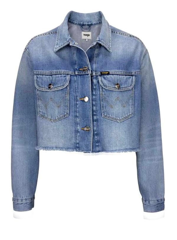 590.189 WRANGLER Damen-Jeansjacke Kurz Blau-Used Waschung Denim Baumwolle Kurzform