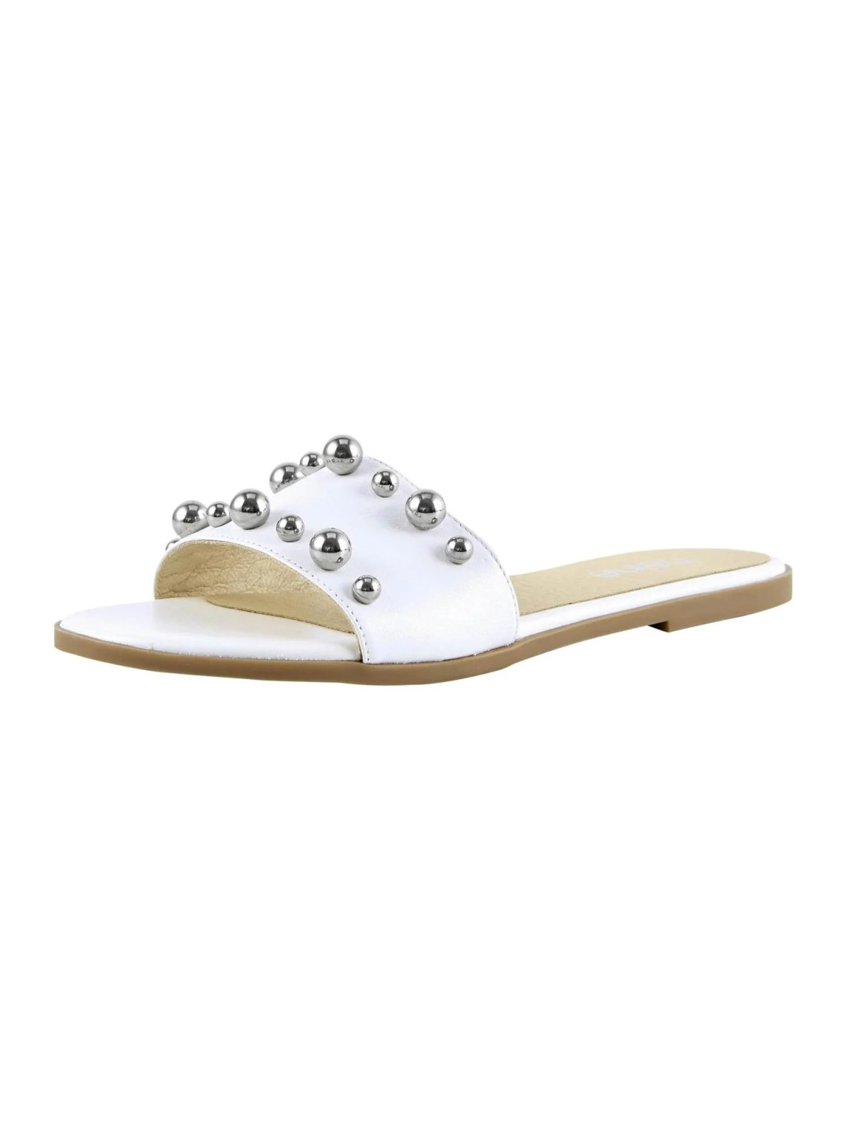 714.054 HEINE Damen Designer-Leder-Pantolette m. Perlen Weiß