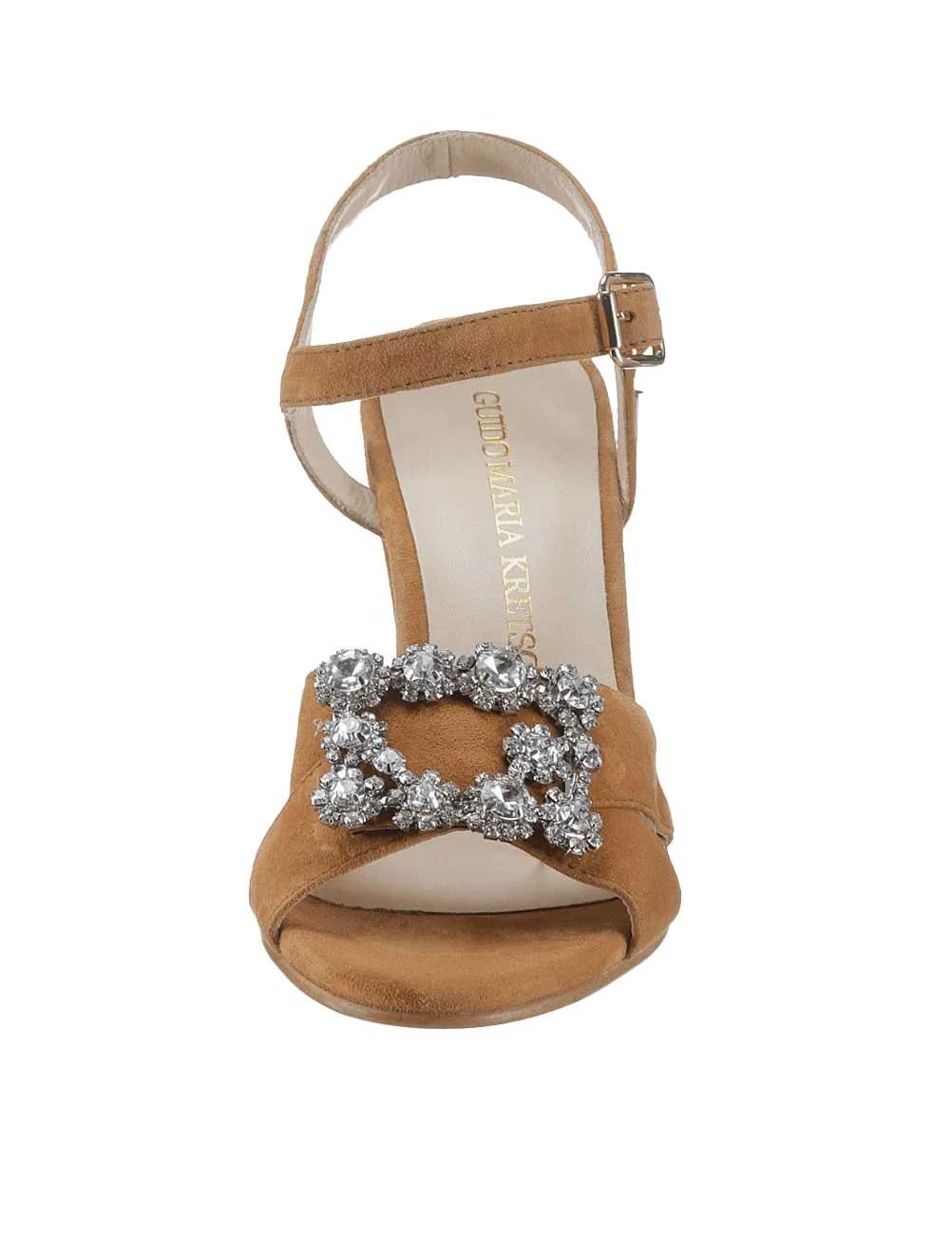 931.405 GUIDO MARIA KRETSCHMER Damen Designer-Sandalette m. Strass Cognac