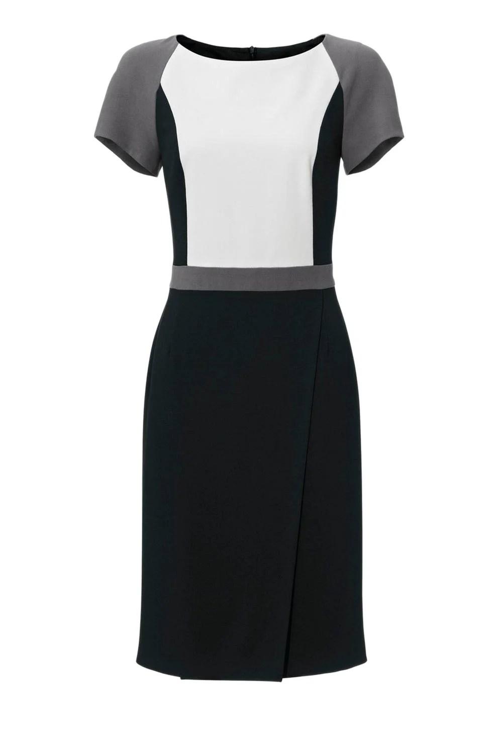 business kleider für damen PATRIZIA DINI Damen Designer-Etuikleid Schwarz-Grau 006.240 Missforty