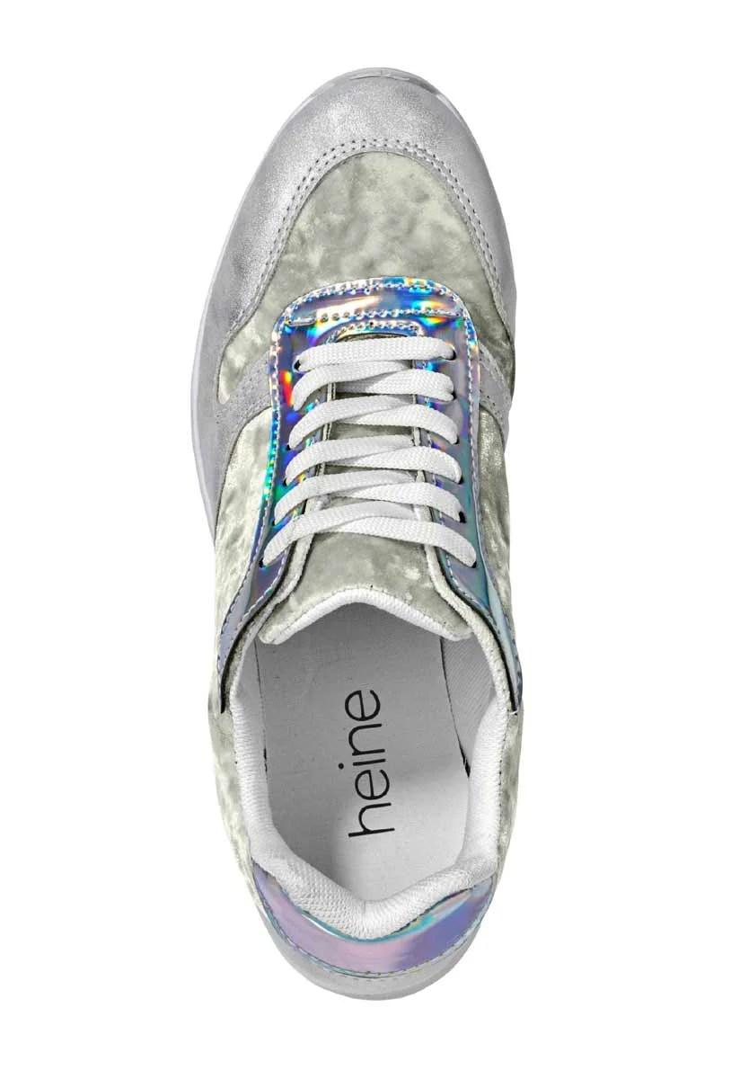 bequeme Schuhe HEINE Samt-Sneakers, silberfarben 016.002 Missforty.
