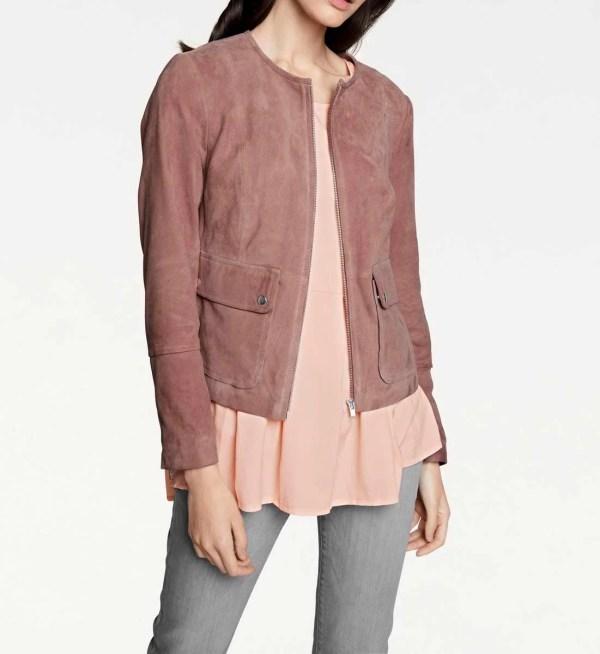 jacken auf rechnung bestellen als neukunde RICK CARDONA Damen Designer-Ziegenvelourslederjacke Rosenholz 077.642a MISSFORTY