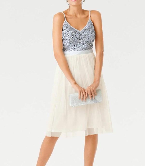 kurzes kleid für besondere anlässe Ashley Brooke Cocktailkleid cremeweiß-silber 078.817 Missforty