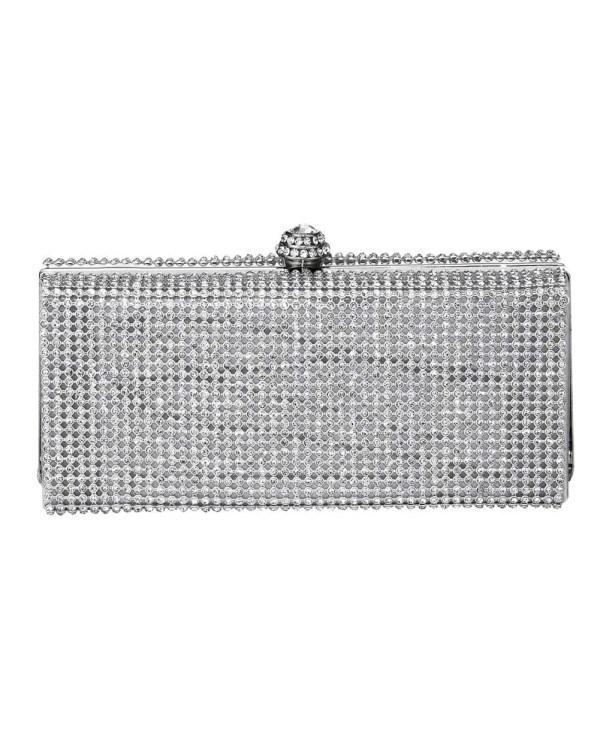 welche tasche zum abendkleid HEINE Damen Designer-Clutch m. Strasssteinen Silberfarben 082.562 Missforty