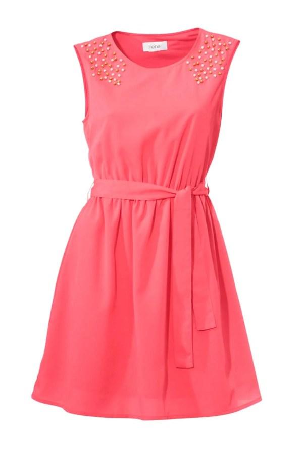 wadenlange kleider für besondere anlässe HEINE Damen Kleid mit Perlen und Gürtel Hummer 096.419 missforty