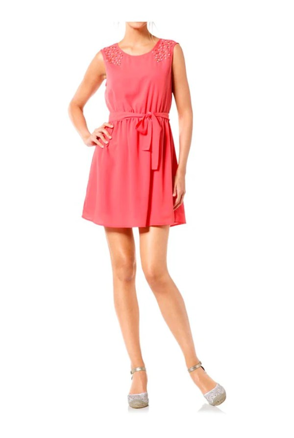 096.419 HEINE Damen Kleid mit Perlen und Gürtel Hummer