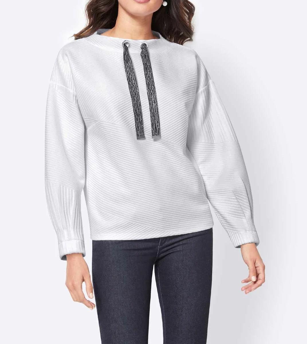 sweatshirts auf rechnung Kuschel-Sweatshirt, weiß von Création L Grösse 44 108.403 MISSFORTY