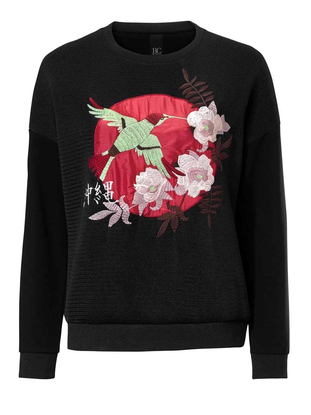 sweatshirts auf rechnung HEINE Damen Designer-Sweatshirt mit Stickerei Schwarz 116.903 MISSFORTY