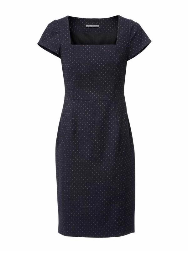 business kleider für damen ASHLEY BROOKE Damen Designer-Etuikleid Bodyforming Mieder Punkte Marine-Cognac 165.211 Missforty