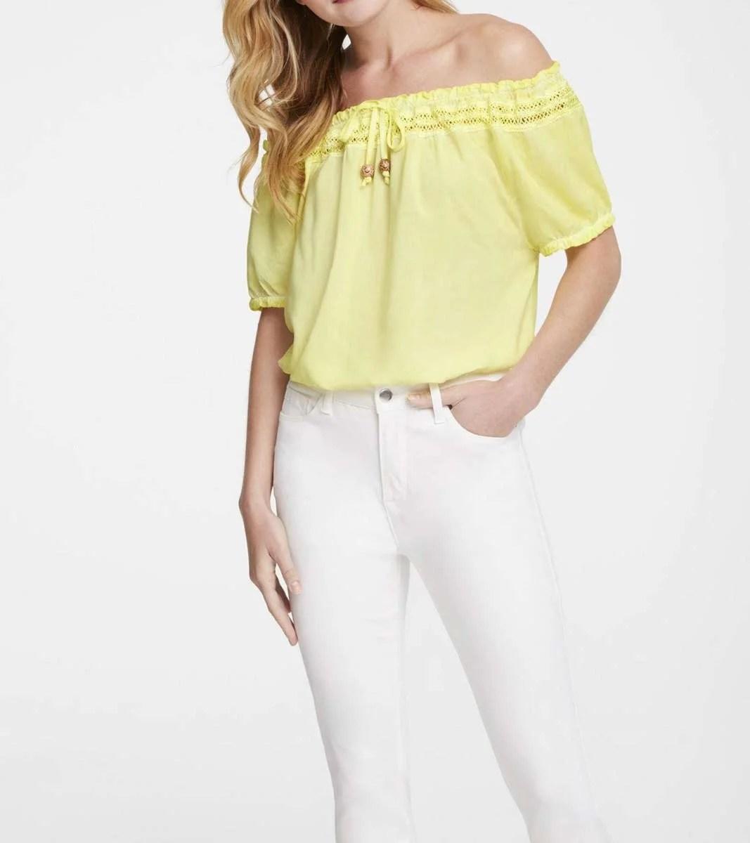 t shirts ohne ärmel Carmenbluse, gelb 301.880 Missforty