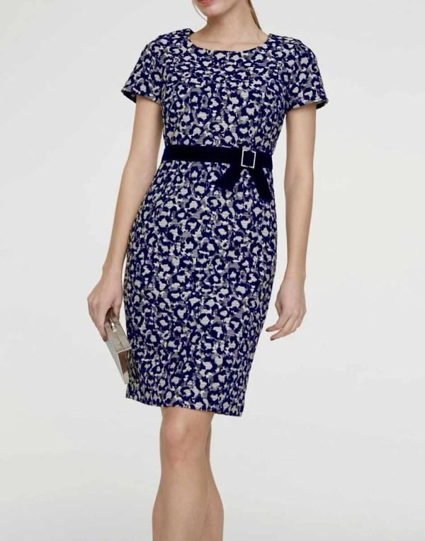 business kleider für damen Heine Etuikleid mit Taillenband marine 343.958 Missforty