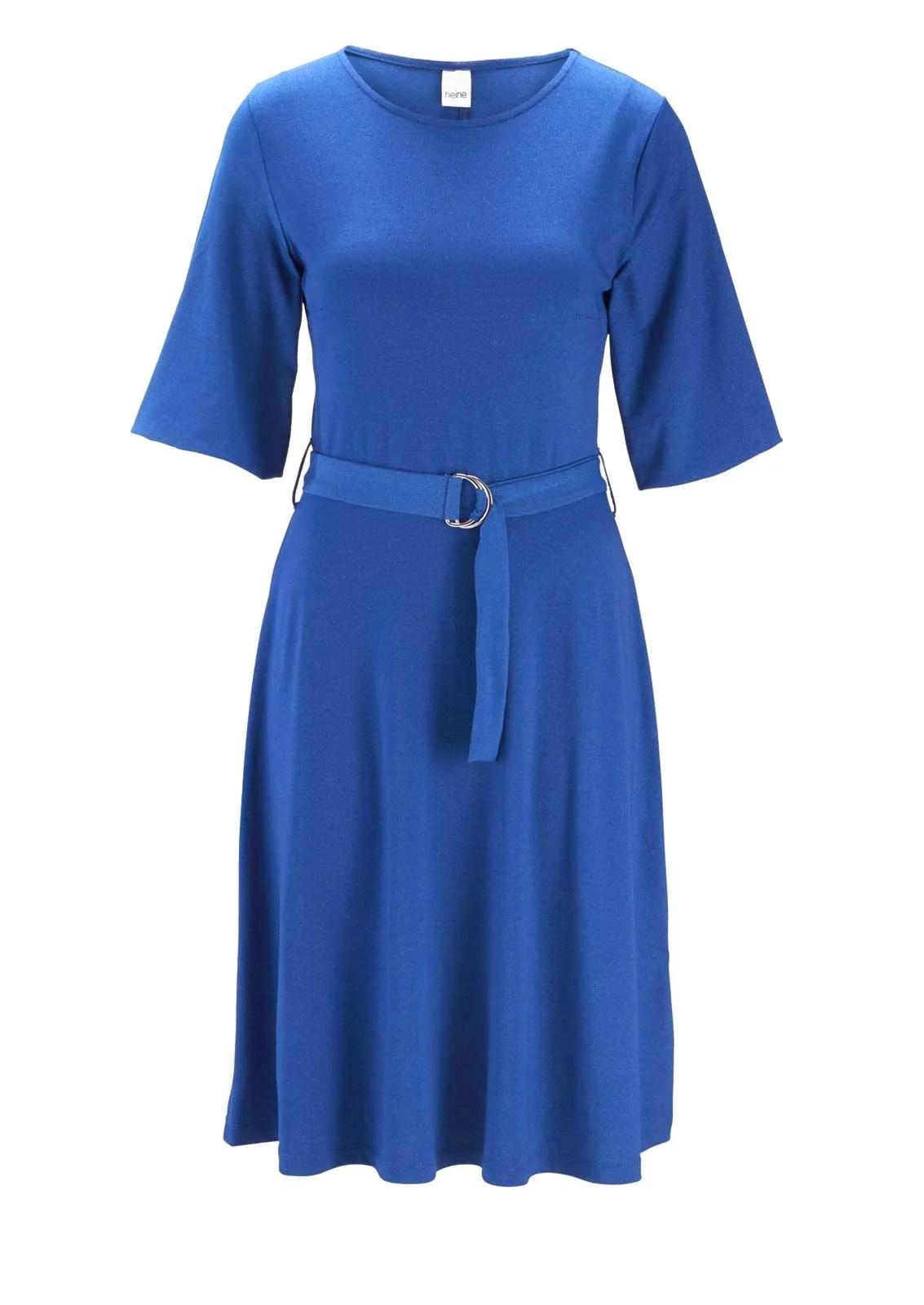 wadenlange kleider für besondere anlässe HEINE Damen Jerseykleid mit Gürtel Blau 612.939 missforty